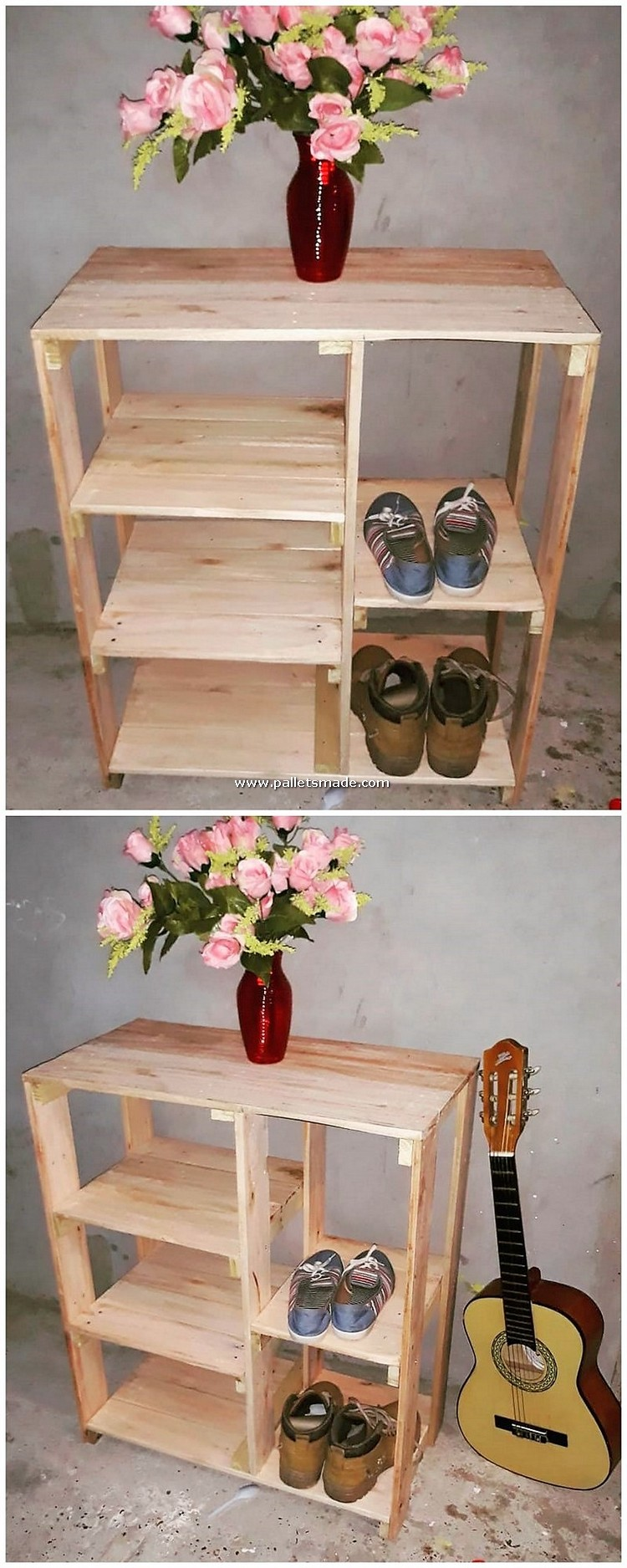 Pallet Table with Shoe Rack