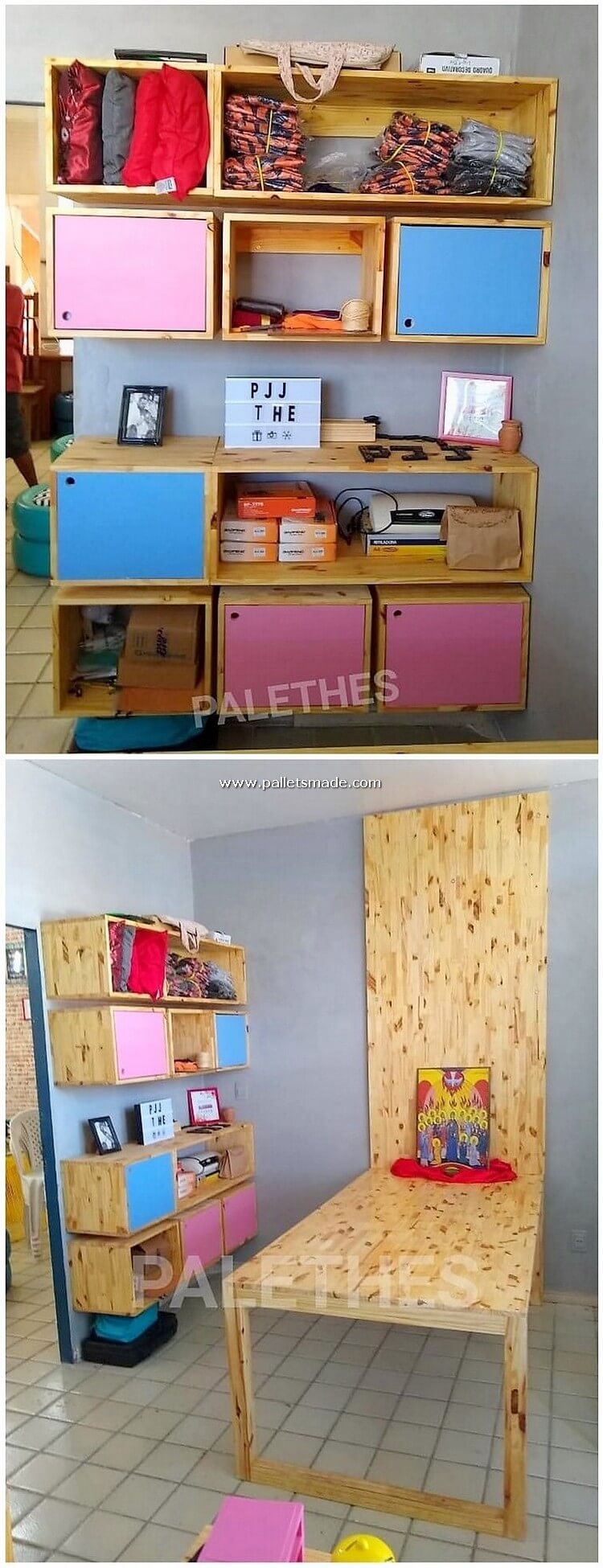 Pallet Wall Shelving Unit and Desk Table