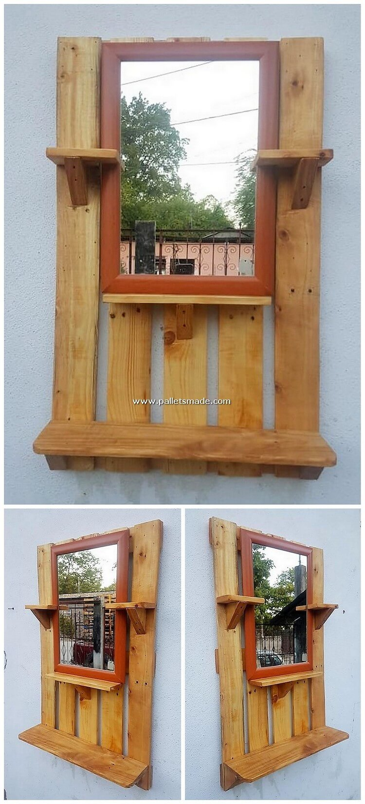 Pallet Mirror Frame with Shelf