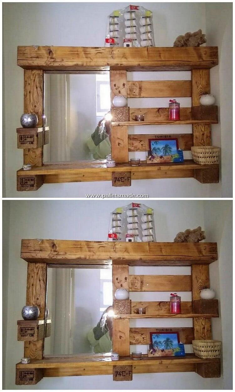 Pallet Mirror Frame with Shelf