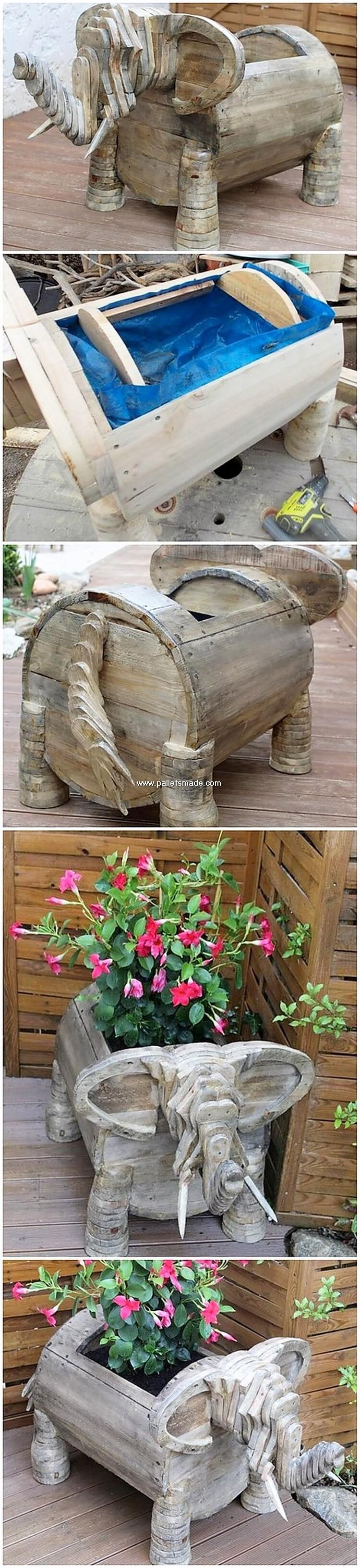 Pallet Elephant Planter
