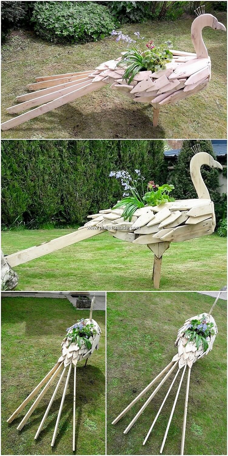 Pallet Peacock Planter