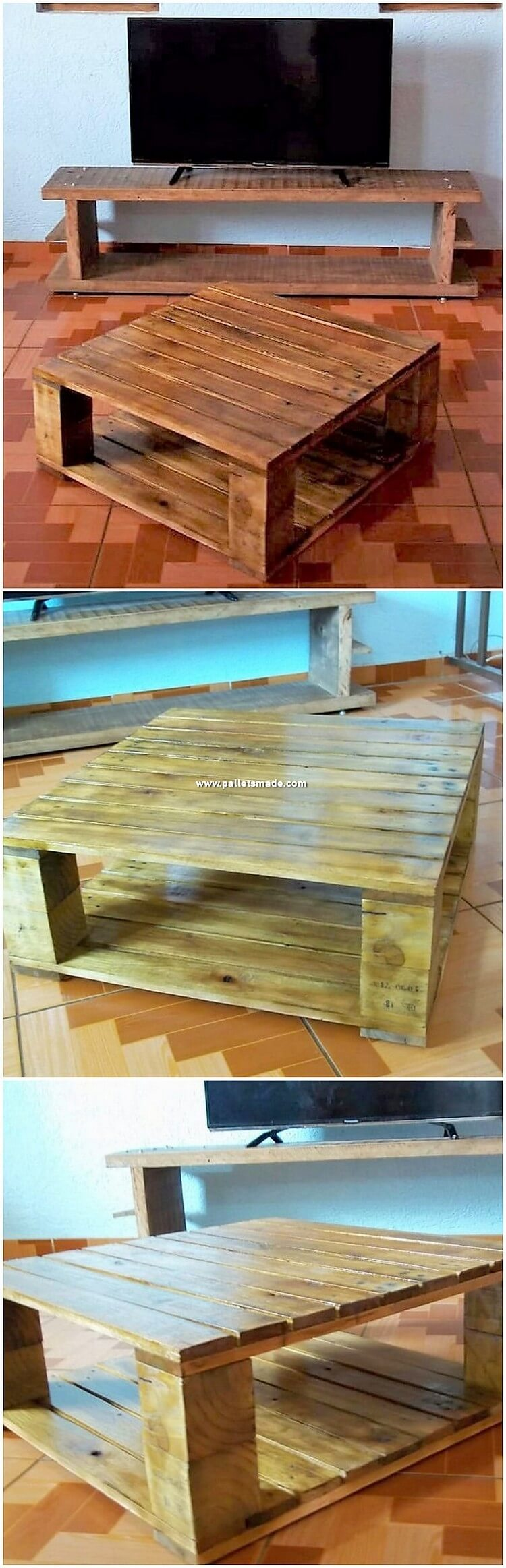 Pallet TV Stand and Coffee Table