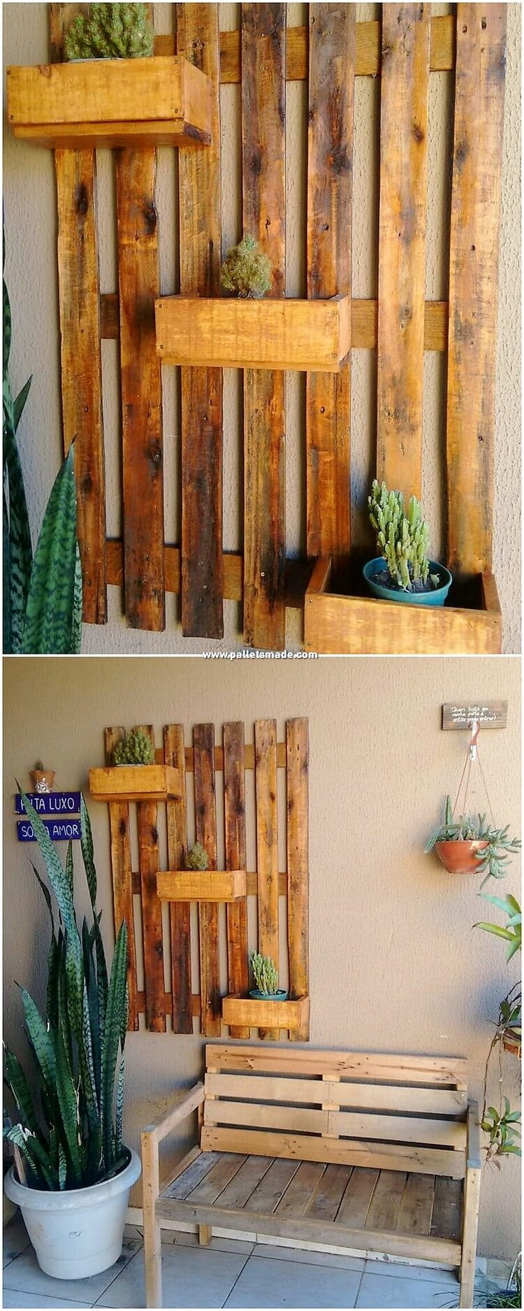 Pallet Wall Planter and Bench