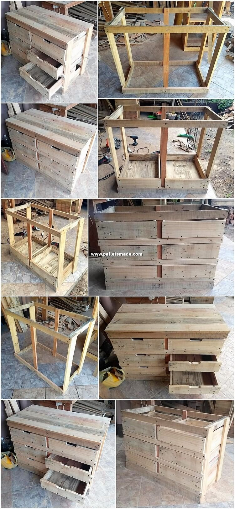 DIY Pallet Chest of Drawers