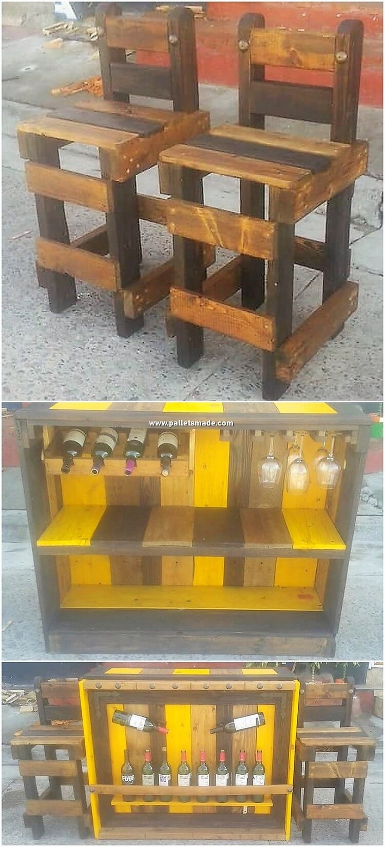 Pallet Counter Table and Chairs