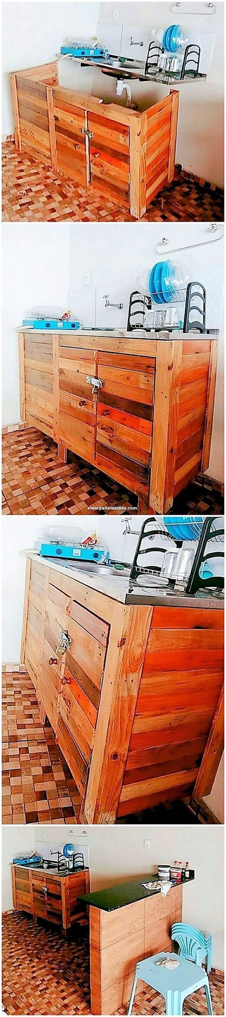 Pallet Kitchen Sink with Cabinet