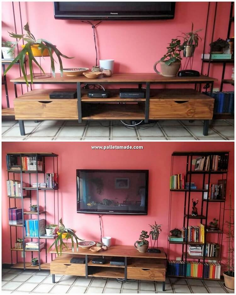 Pallet Media Cabinet and Shelving Units