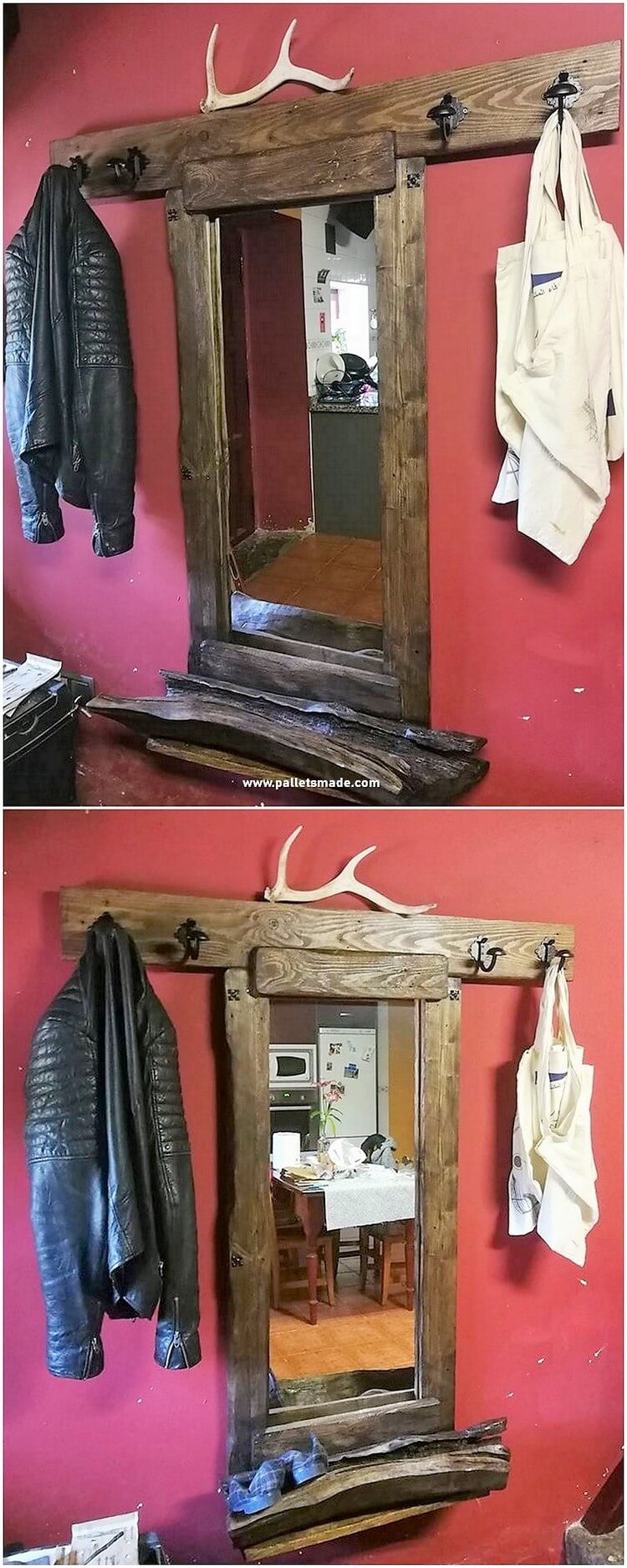 Pallet Mirror Frame with Coat Rack