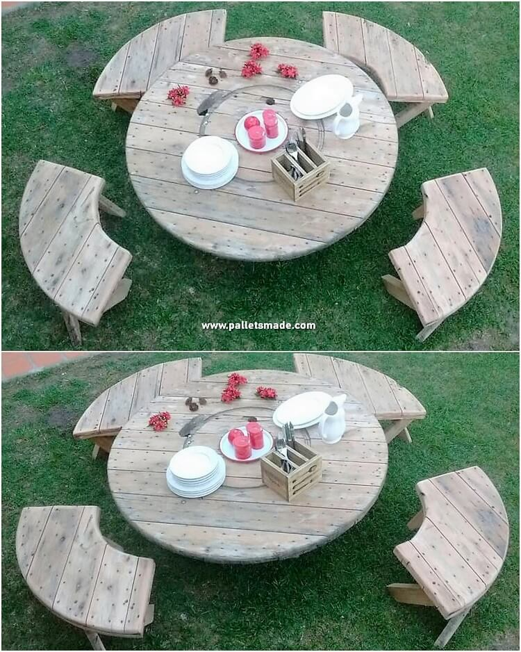 Pallet Round Top Table and Benches