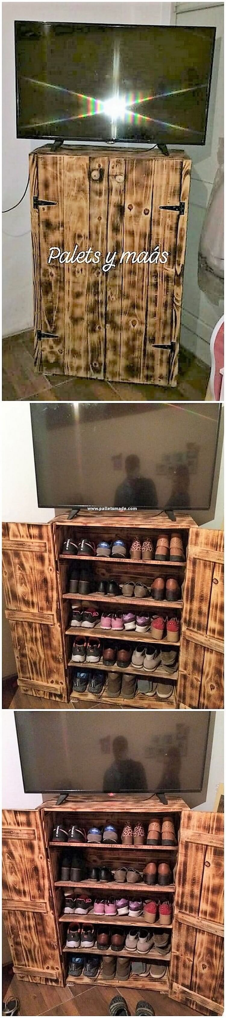 Pallet TV Stand with Shoe Rack