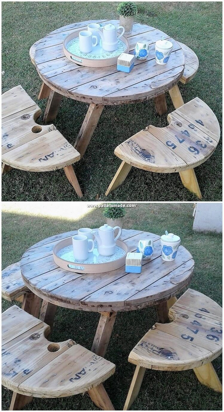 Round Top Pallet Table and Benches