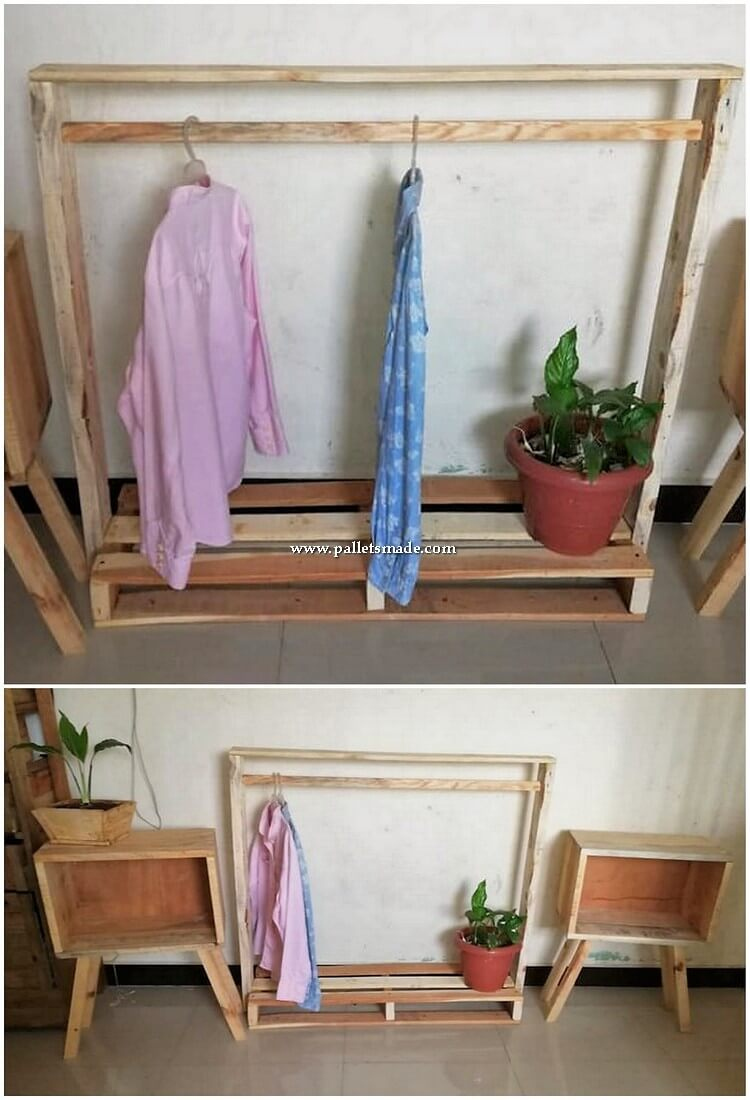 Pallet Closet and Side Tables