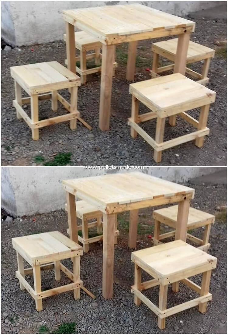 Pallet Wood Table and Stools