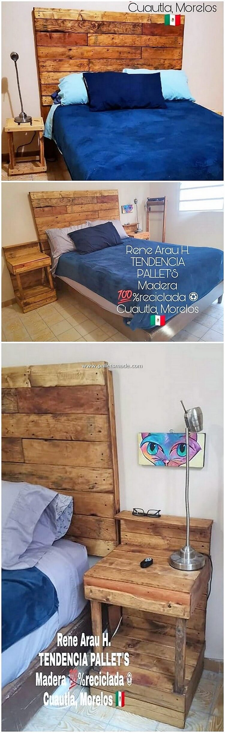 Pallet Bed Headboard and Side Table