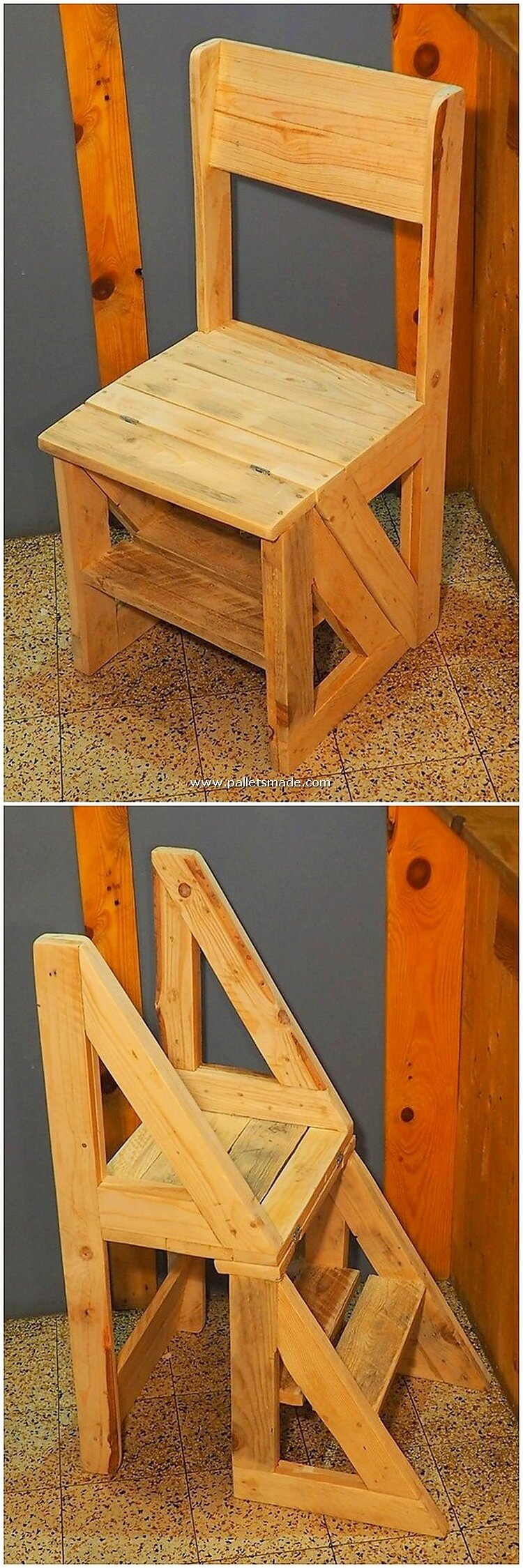 Pallet Chair with Convertible Stairs