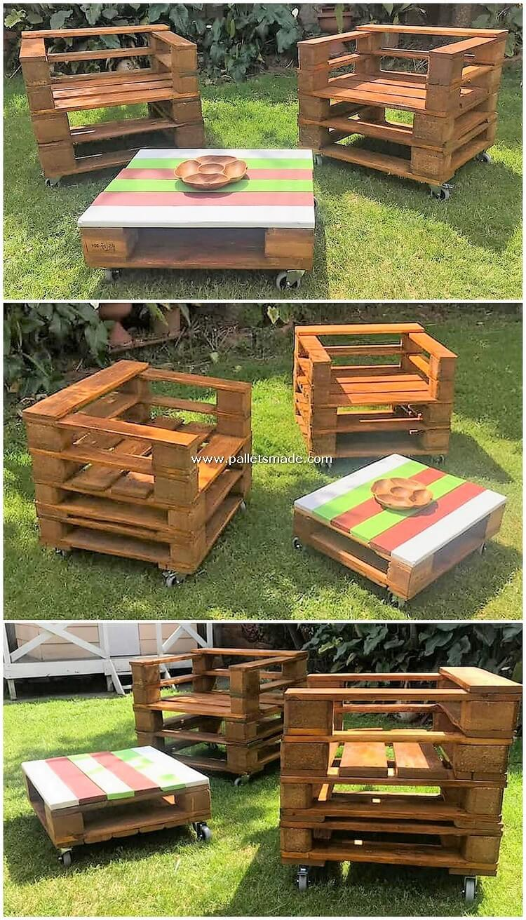 Pallet Garden Chairs and Table