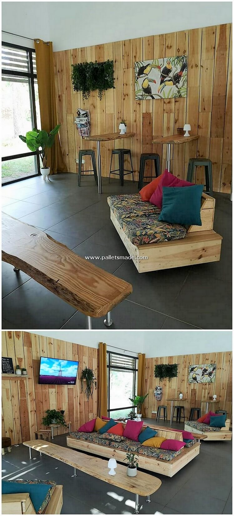 Pallet Wall Paneling and Furniture