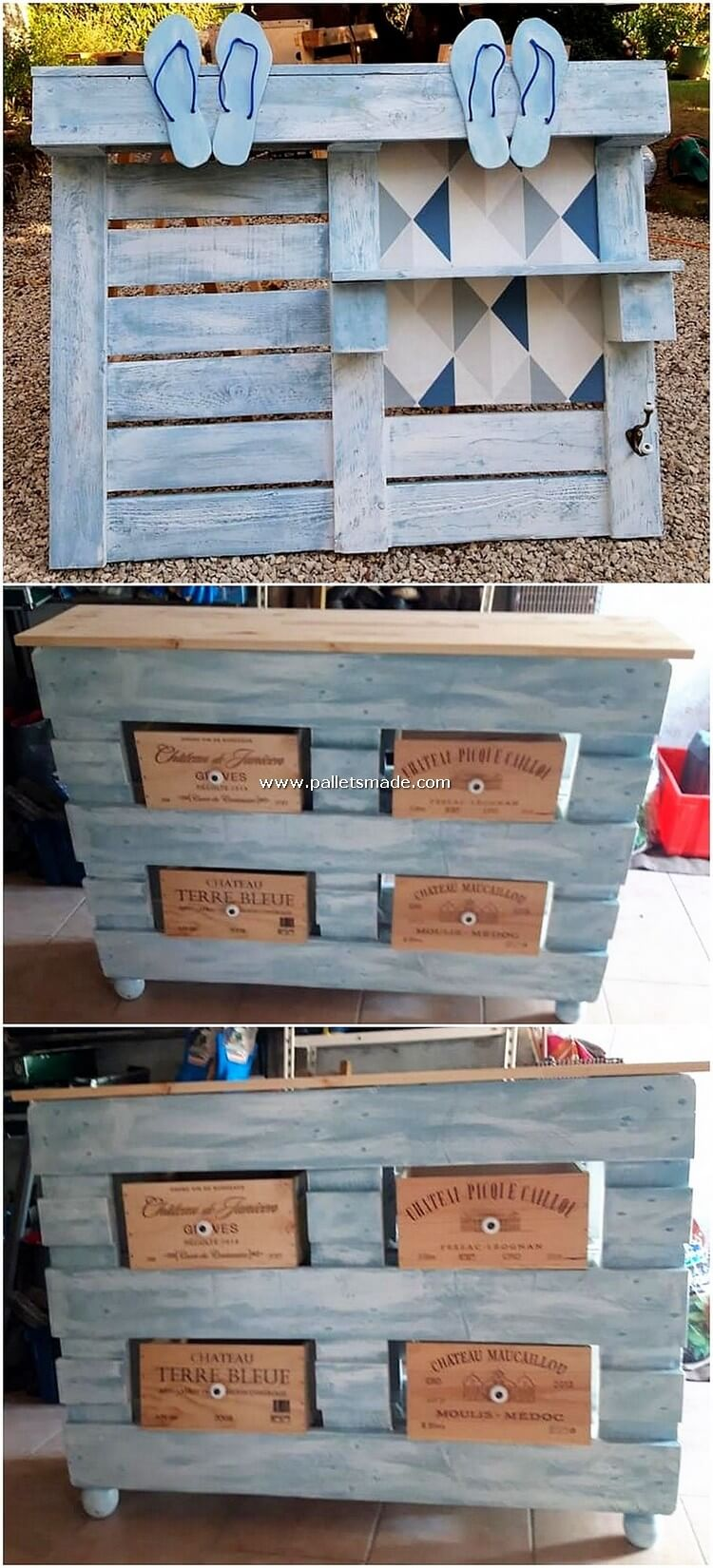 Pallet Wall Shelf and Table with Drawers