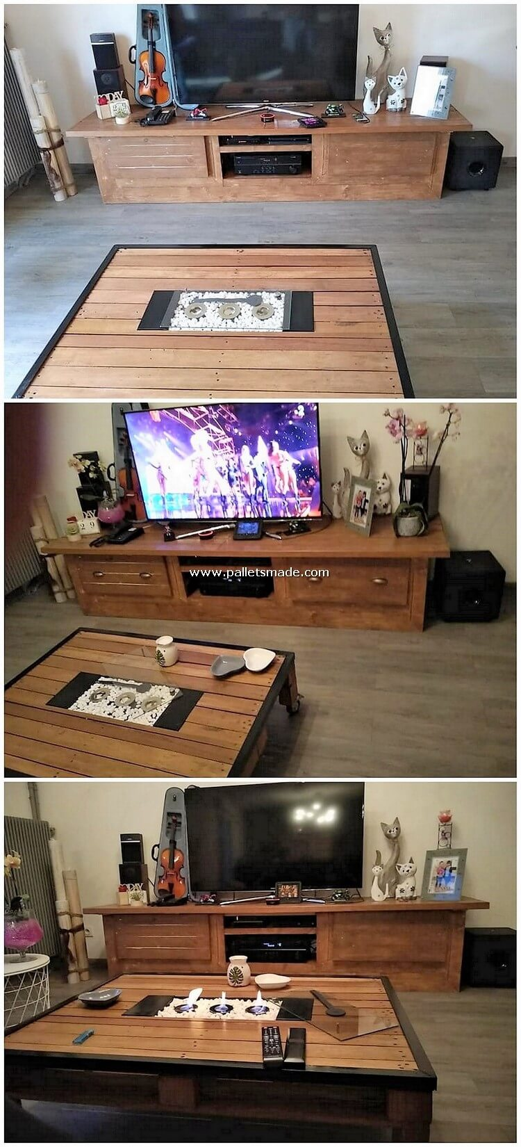Pallet Media Cabinet and Coffee Table